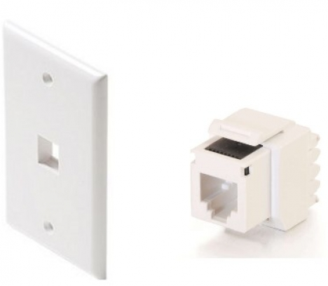1-Port Keystone wallplate White + Telephone RJ11 socket, 01 modun