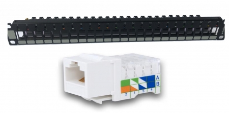Patch panel Cat. 5e accept Keystone jacks  with rear plastic cable and rotative color wheels + 24 *